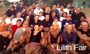 Group photo with the Sarah McLachlan band and Lilith Fair crew.