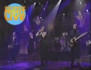Performing on Saturday Night Live, alongside Sarah McLachlan.